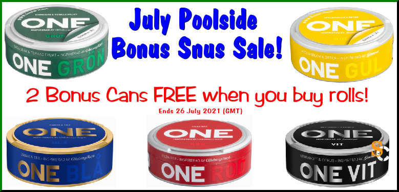Get 2 Cans FREE of ONE Snus is for Summer when you buy Rolls at SnusCentral.com!
