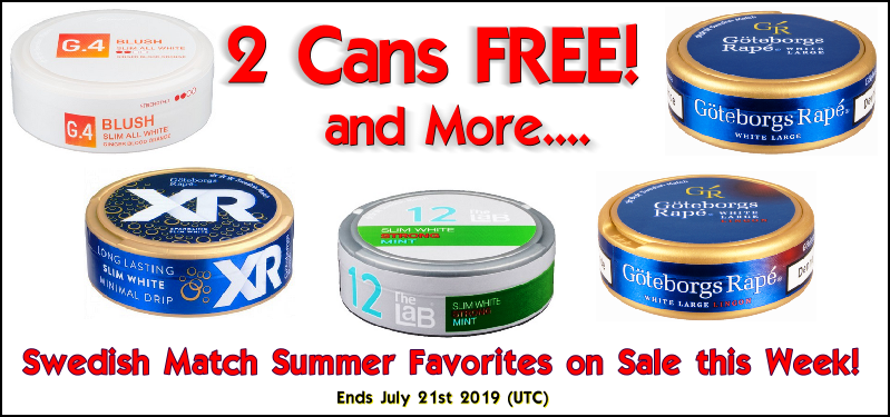 Get FREE EXTRA CANS of these Swedish Match Snus Summer Favorites when you buy rolls!