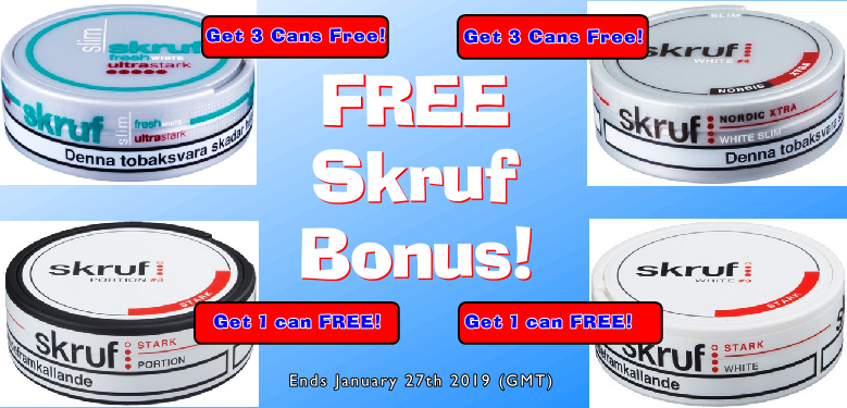 It's a GREAT TIME to Buy Skruf Snus and get FREE Bonus Snus!