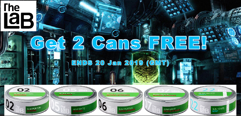 2 Extra Cans FREE on Select LaB Snus Series this week at the famous SnusCentral.com Snus Shop!