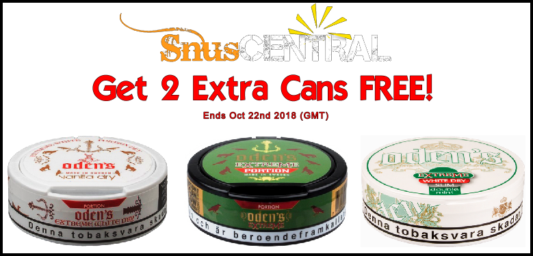 Extreme weather calls for an EXTREME Snus Sale! Stay dry and enjoy your FREE Oden's bonus snus!