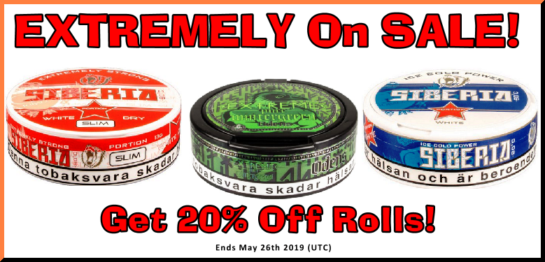 20% Off these EXTREMELY Popular Odens and Siberia Snus offerings this Week! Only at the legendary SnusCentral.com Snus Shop!