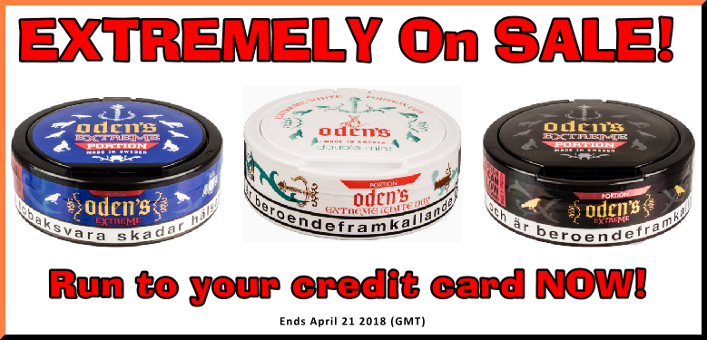 Get some EXTREMELY Free snus from Odens this week!