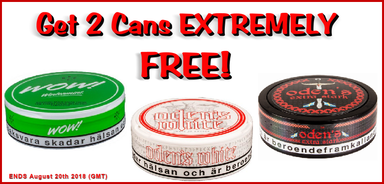 2 FREE Bonus Cans of these GN Tobacco Snus products with every roll you buy this week!