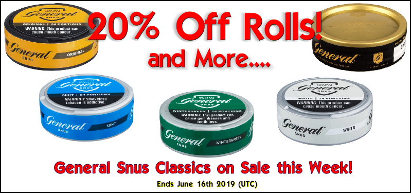 Save 20% on these General Snus classics this week!