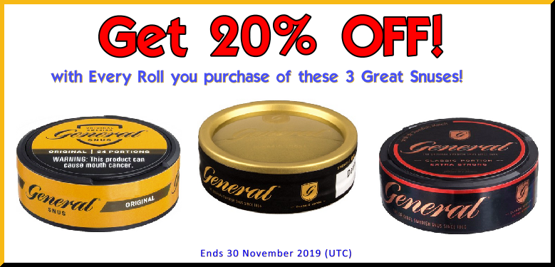 Three General Classic Snus Favorites ON SALE in all November long at the fabled SnusCentral.com Snus Shop! Stuff your turkey with the General Lös! MMMMM!