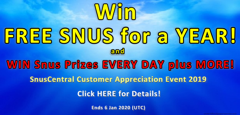Win FREE Snus for a YEAR! Win FREE Snus EVERY DAY until Jan 6 2020 at SnusCentral.com!