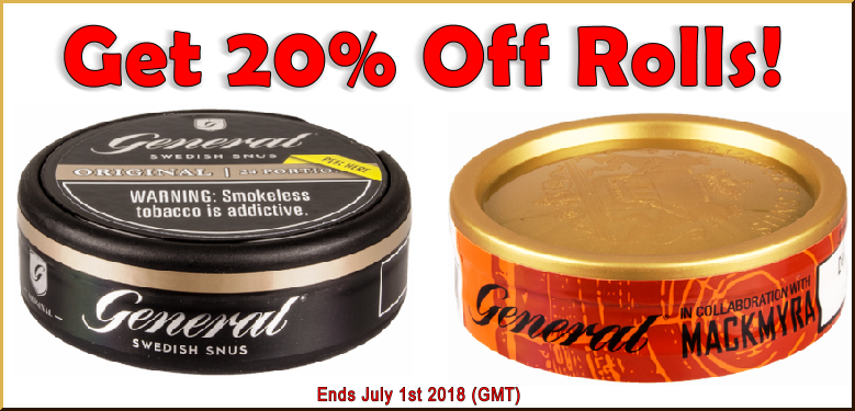 It's June! Get 20% Off Rolls of General Original Portion and Mackmyra Loose Snus all month long!