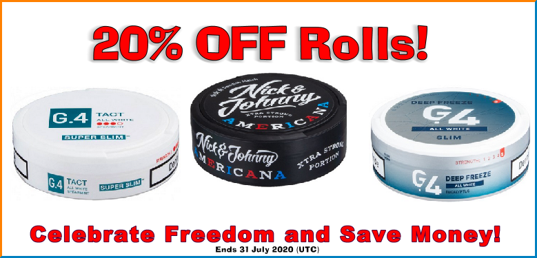20% OFF Rolls of these patriotic products! G.4 is patriotic too, says me, Moe Unz!