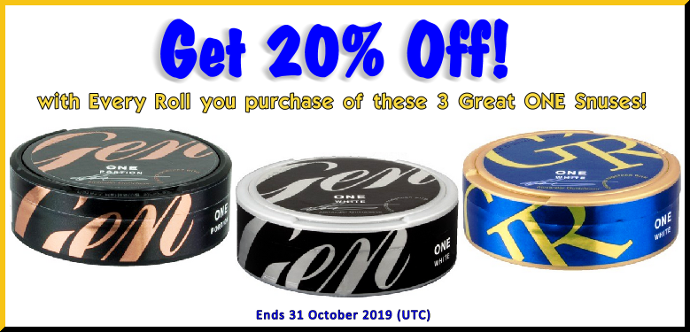 The ONE Snus Sale you've been waiting for! General ONE, that is.....