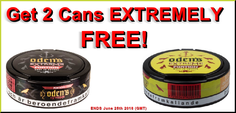 Get 2 Cans of Extremely FREE Snus from Odens this Week!