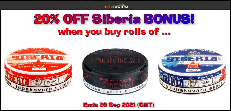 Siberia Snus ON SALE! Strap yourself in before you open a can!