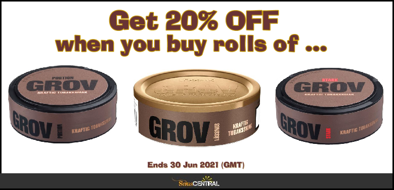 20% OFF Rolls of these Grov Snus Specials in June!