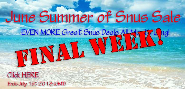 We're ending June with 20% OFF Rolls of ALL Snus on Sale this Week!