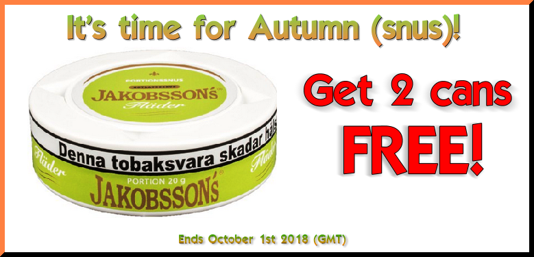 Get 2 Cans FREE Jakobsson's Flader Portion Snus at SnusCentral.com this Week!