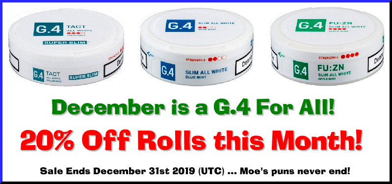 It's going to be a White (nicotine pouch) Christmas! Save 20% on these G.4 All White Snus Specials!