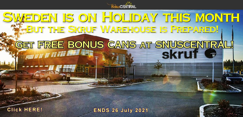 Vacation-time Specials from Skruf at SnusCentral.com THIS WEEK!