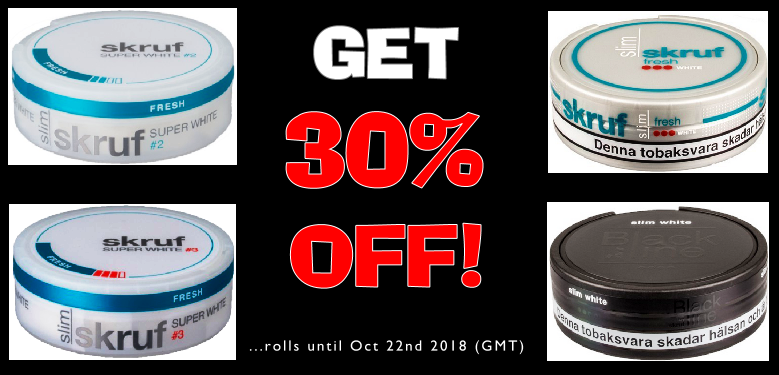Get 30% OFF rolls of these Skruf Snus selections this week at SnusCentral.com!