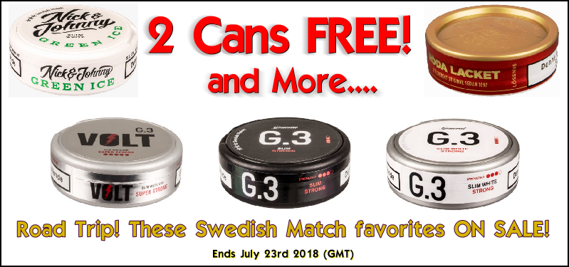Road Trip! Get 2 Cans FREE of these Swedish Match Snus Favorites This Week at SnusCentral.com!
