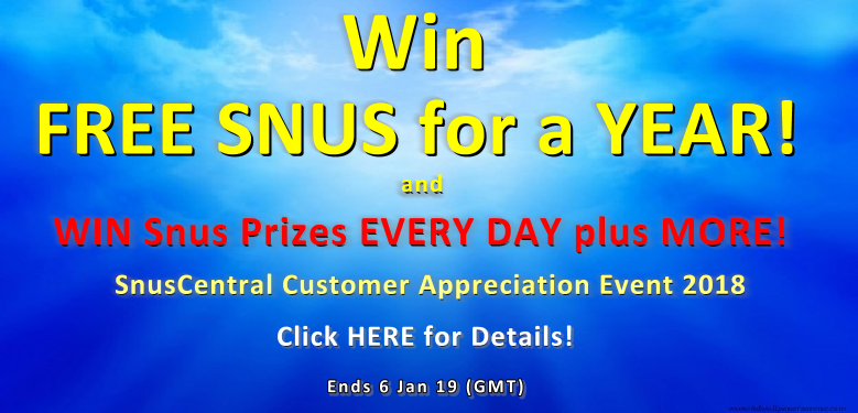 Win FREE SNUS for a YEAR and Much More at SnusCentral.com! Click Banner for Details!