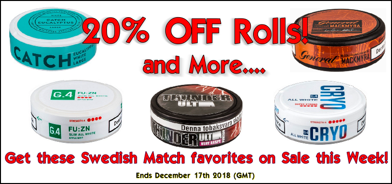 Get FREE BONUS Cans of these Swedish Match snus favorites at SnusCentral.com!