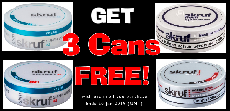 Get 3 Extra Cans FREE of each of these Skruf Snuses this week!