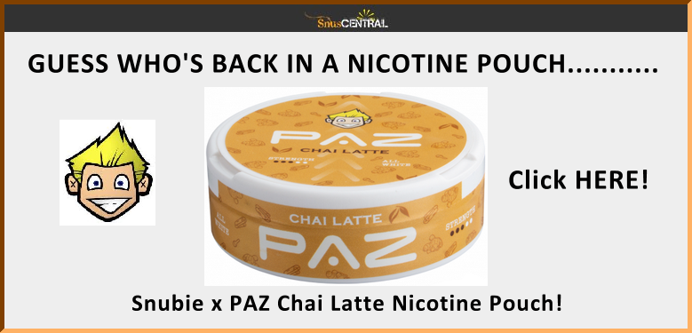 Snubie is back with PAZ and a fantastic new Chai Latte nicotine pouch! Cheaper than Starbuck's too!