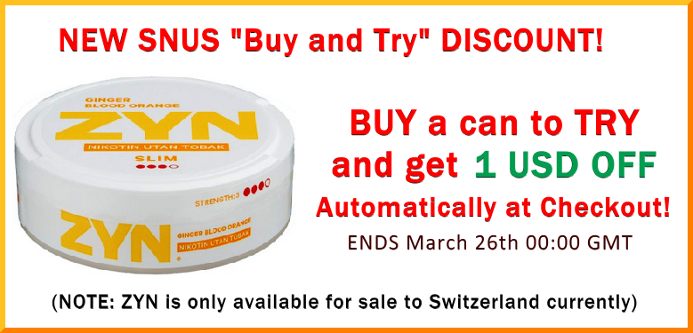 Buy and Try Special! Save 1 USD on a can of ZYN Strong Blood Orange and Ginger All White Portions (Switzerland Only; sorry)