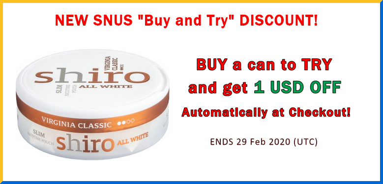 BUY a can of Shiro Virginia Classic Slim All White snus to TRY and Get $1 OFF at Checkout!